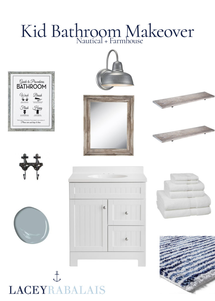 Nautical Farmhouse Kid Bathroom MakeOver